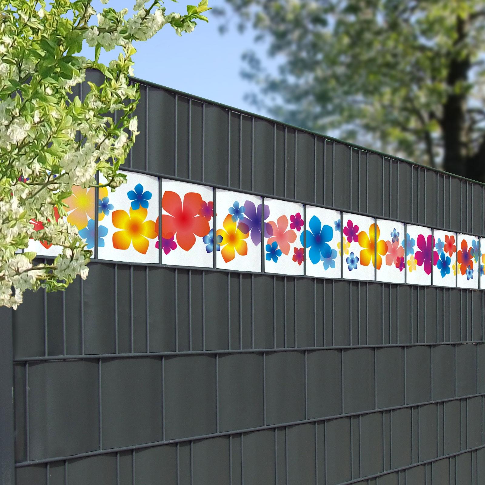 Bunte Blumen Als Farbenfrohe Dekoration Im Sichtschutzzaun