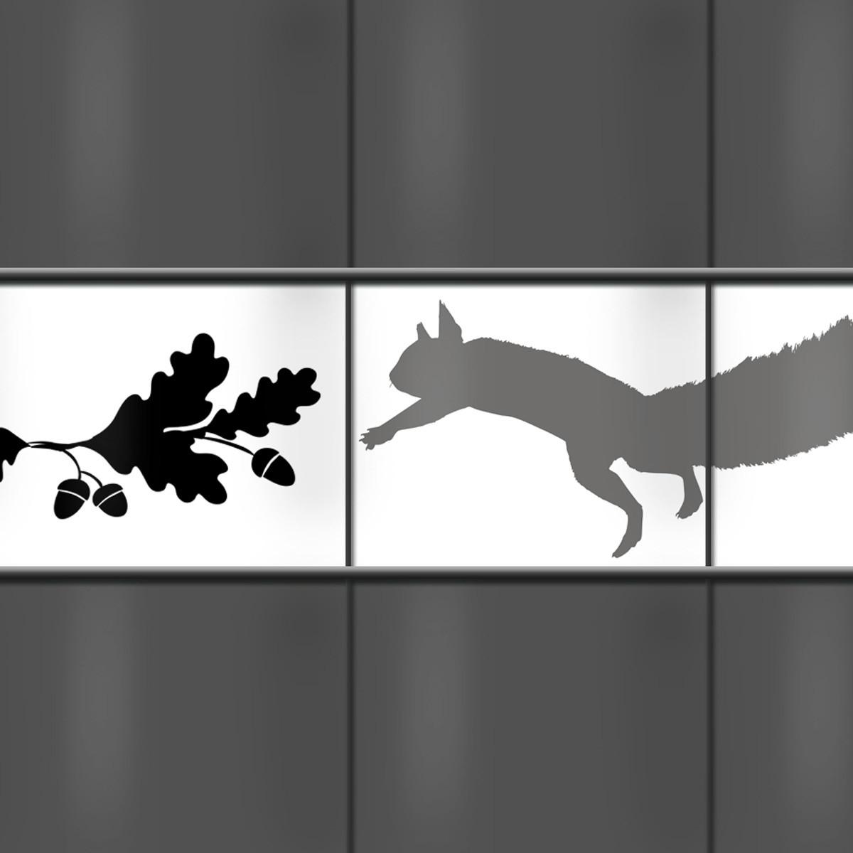 Eichhörnchen Tier-Motiv im Doppelstab-Zaun