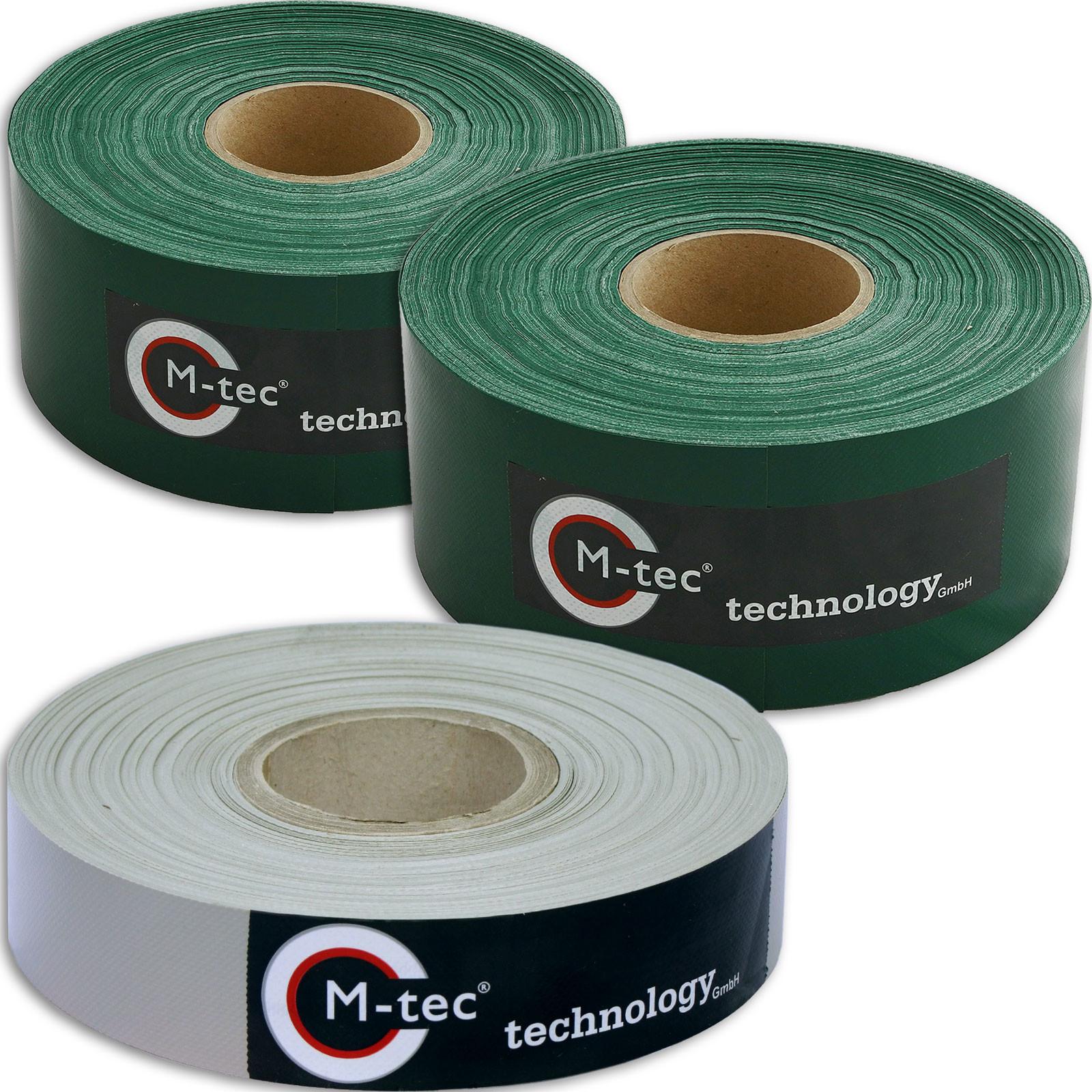PVC Sichtschutzstreifen Designset 65m - 2x 7,5cm Breitgrün - 1x 4cm Breit lichtgrau M-tec Profi-line ®