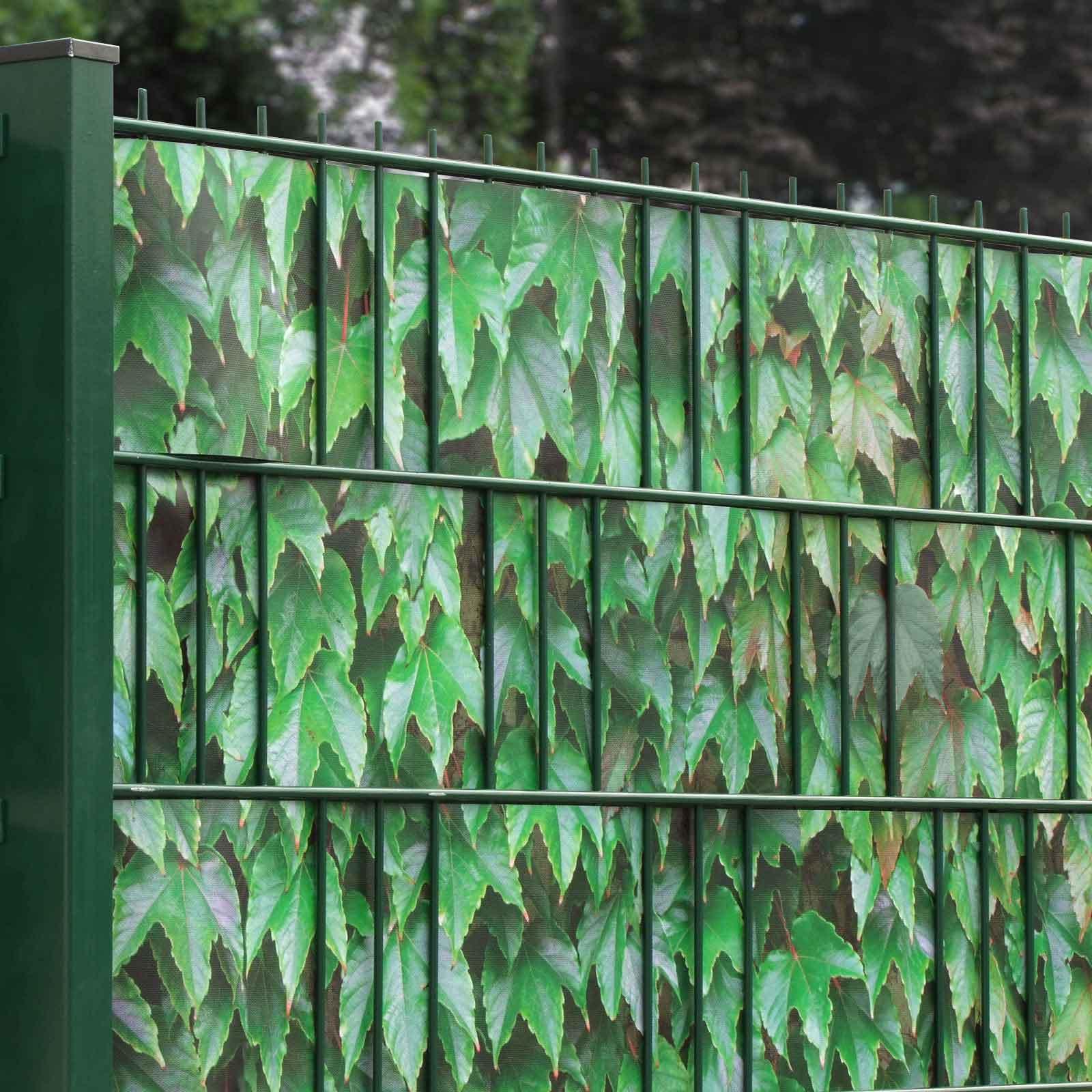 Gittermattenzaun mit Sichtschutzmotiv grüner Wein