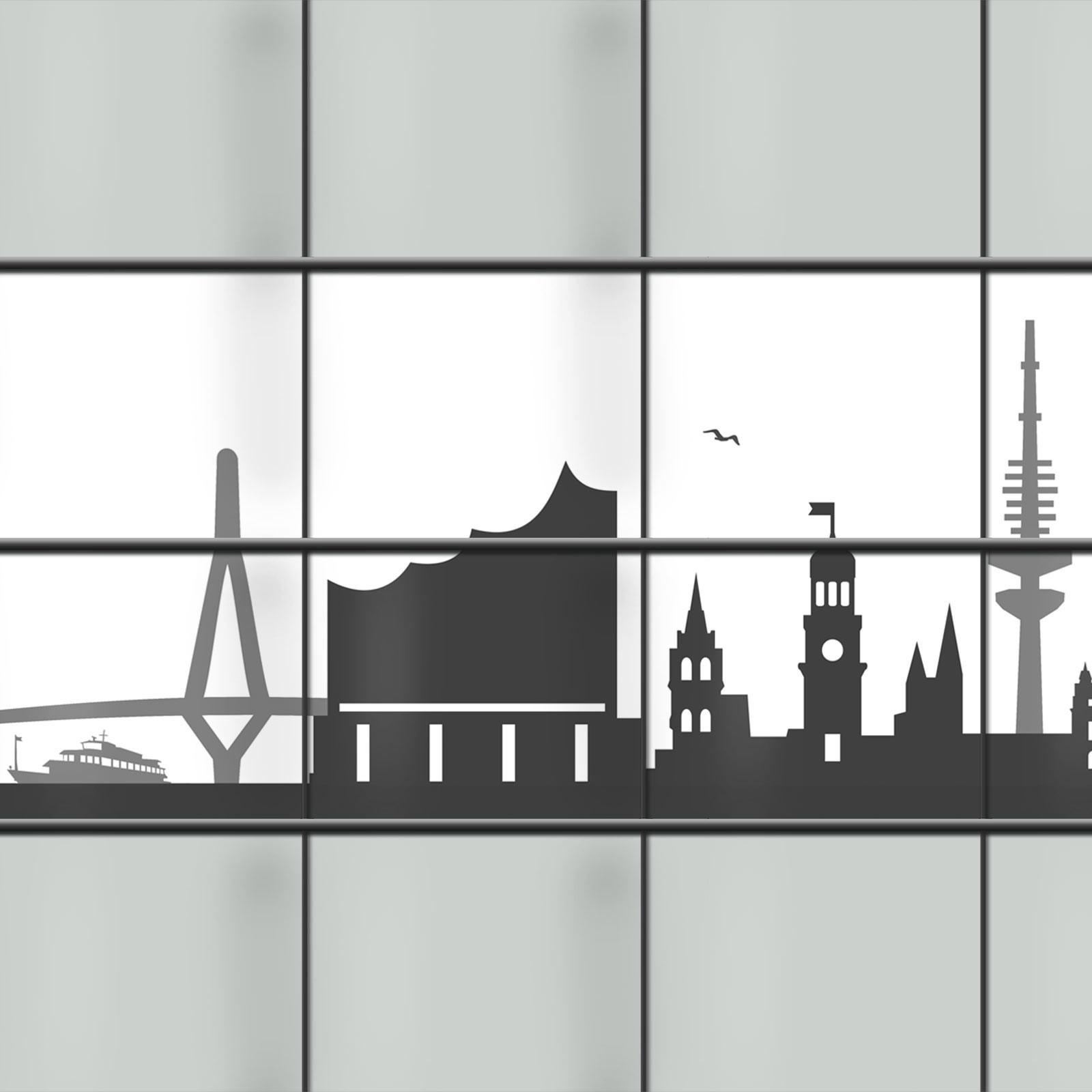 Weich PVC Sichtschutz mit Hamburg Skyline