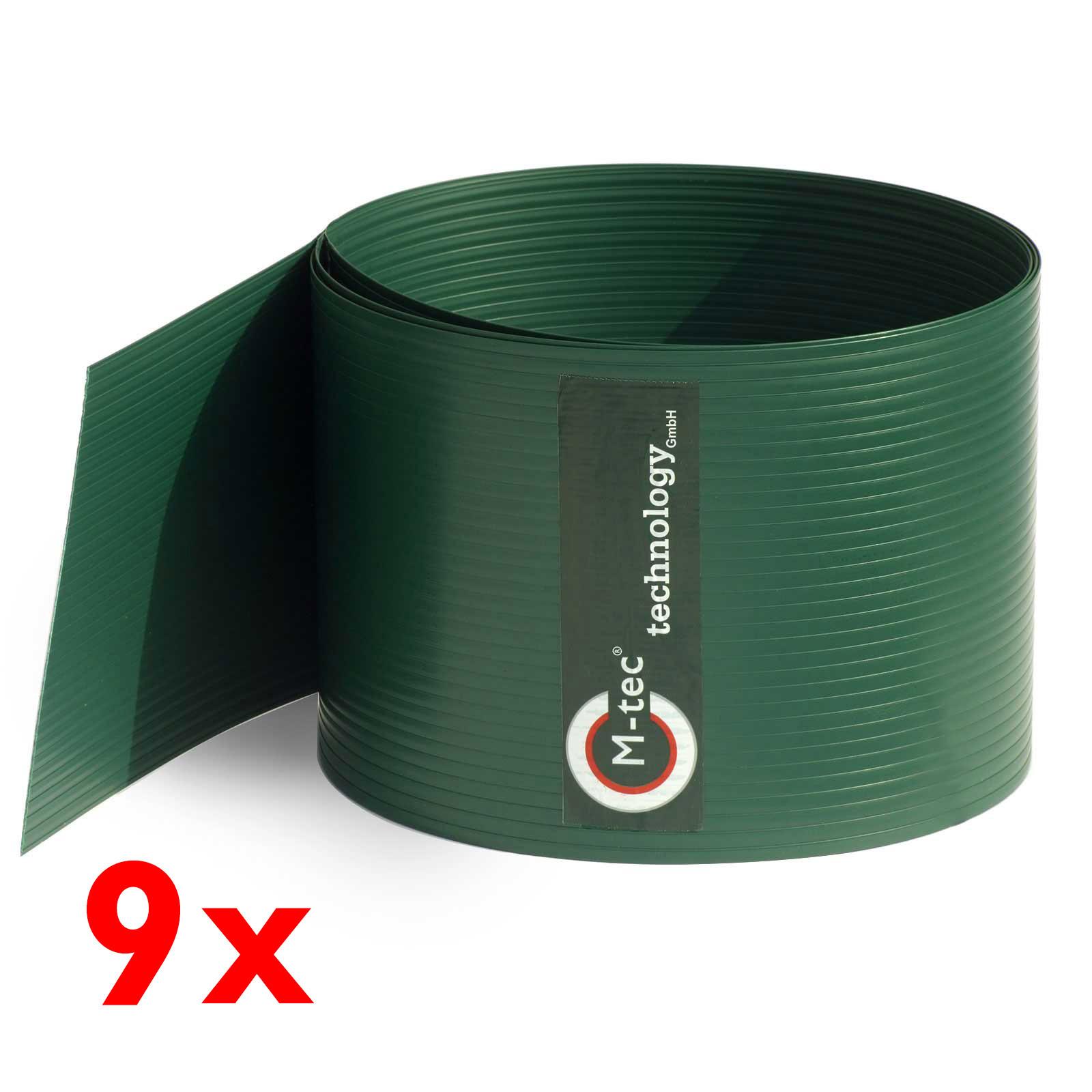 Sichtschutzstreifen Hart-PVC Grün - Set mit 9 Streifen