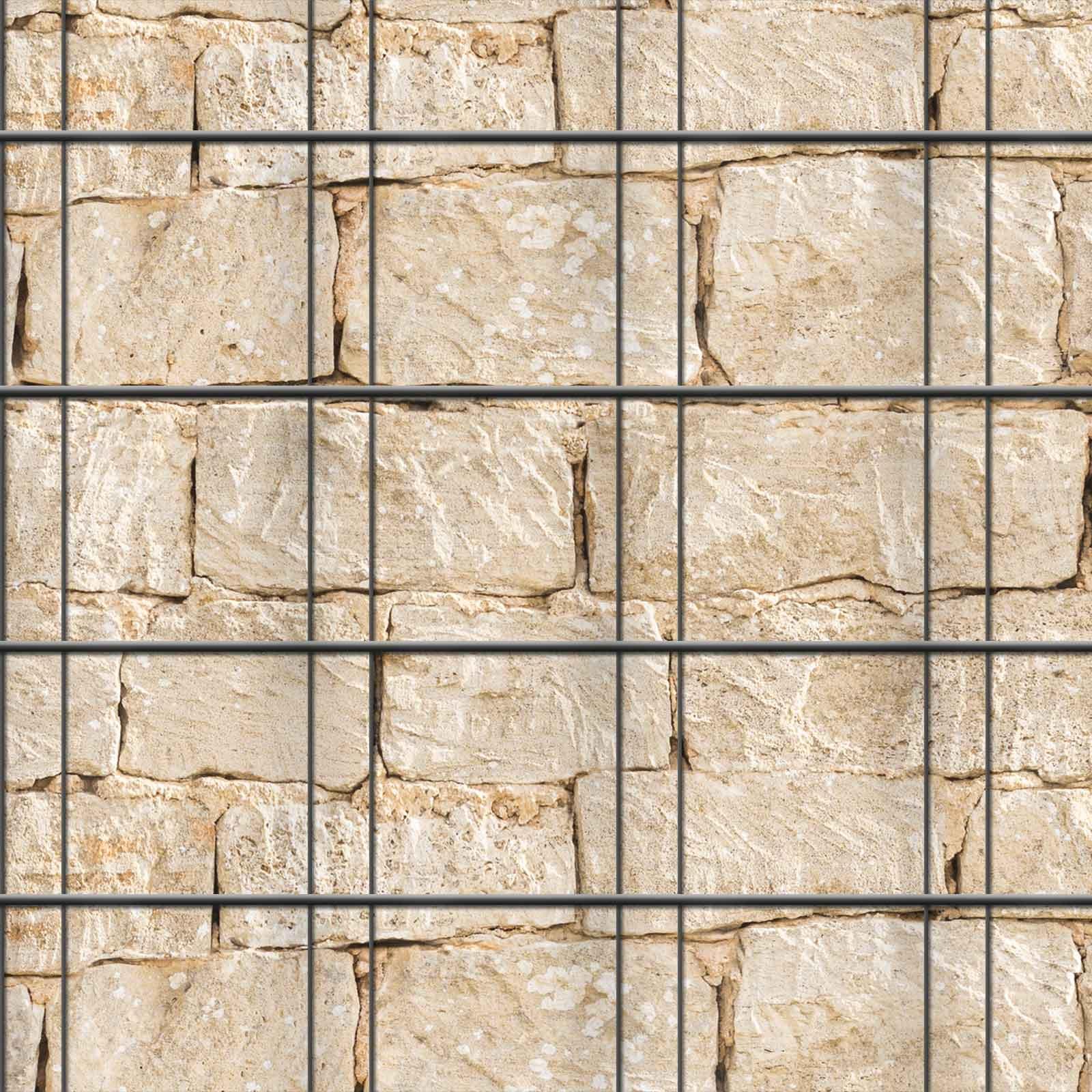 Zaunblenden  Muster Sandsteinmauer über drei Streifen fortlaufend