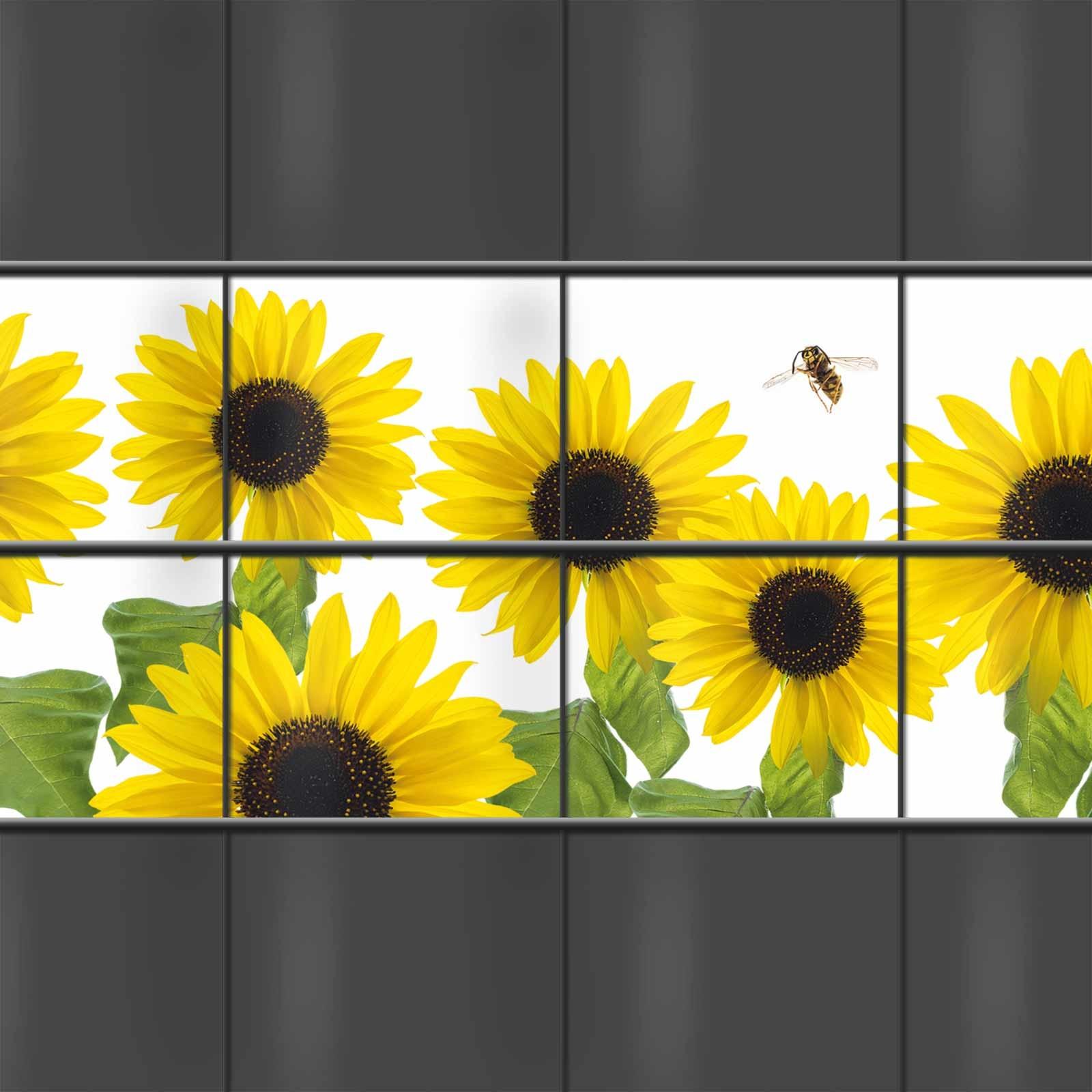 PVC Sichtschutz mit Sonnenblumen-Motiv